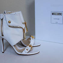 New Sz 8.5 / 38.5 Moschino White Leather Biker Style Ankle Open Toe Sandal Shoes Photo