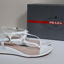 New Sz 8.5 Us / 38.5 Prada White Patent Leather Logo T Strap Wedge Sandal Shoes Photo