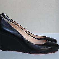 New Sz 9 / 39.5 Christian Louboutin Melisa 70 Black Leather Wedge Heel Pump Shoe Photo