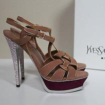 New Sz 9 / 39.5 Ysl Yves Saint Laurent Tribute Suede Platform Sandal Shoes Photo