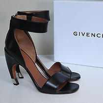 New Sz 9 / 39 Givenchy Black Leather Curve Heel Ankle Sandal Shoes Photo