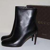 New  Sz 9.5 / 39.5 Gucci Black Leather Contoured Heel Classic Ankle Boots Shoes Photo