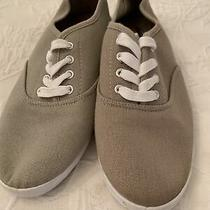 New Sz 9 Charlotte Russe Beige Taupe Canvas Sneakers  Photo