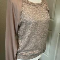 New Sz S Metallic Rose Gold Beige Pink Sweater Top Fine Knit Chiffon Forever 21  Photo