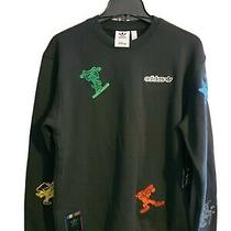 New Sz Small Adidas Disney Collab Goofy Sweatshirt Black Embroidered Sweater Photo