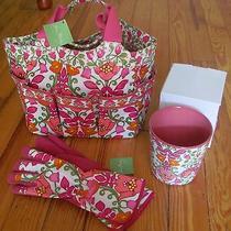 New/tags Vera Bradley Lilli Bell Gardening Tote Bag Gloves & Flower Pot Set Photo