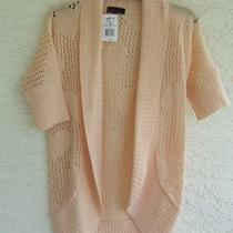New Takeout Misses Xsmall Blush Pink Open Front Short Sleeve Knit Sweater 48 Photo