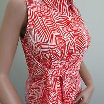 New Talbots Black Label Sleeveless Tropical Print Orange White 10p Dress 139 Photo
