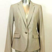 New Talbots Blazer Jacket Womens Brown Pink Stripe Career Wear M 8 Petite 8p Photo