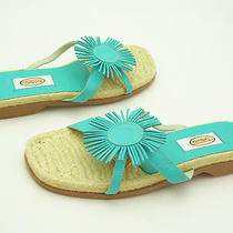 New Talbots Ladies Aqua Leather Sandals Shoes Low Heels Flats Flowers 5.5 B  Photo