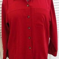 New Talbots Shirt S/6/8 Red Suede Cloth Stretch Long Sleeve Womens Photo