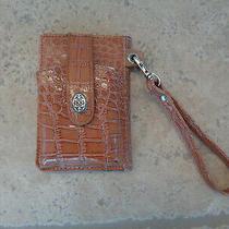 New the Metropolitan Milano Brown Patent Leather Croc Wristlet Wallet Cigarrette Photo