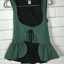 New the Pyramid Collection Fantasy Reversible Hooded Peplum Corset Vest Small Photo