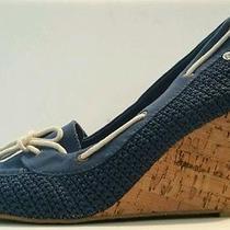 New the Sak Newport Katie Blue Fabric Cork Wedge Shoes Heels Size 8.5  Photo