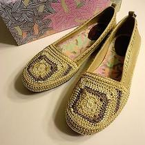 New the Sak Tan Cream Crochet Ballet Flats 7m April Crochet Photo