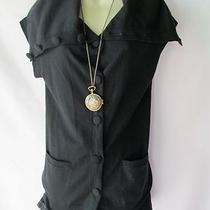 New Theory Black Cowl Neck Dress/tunic Sweater - Size M Photo