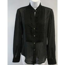 New Theory Black Silk Sheer Button Down Blouse Sz P Photo