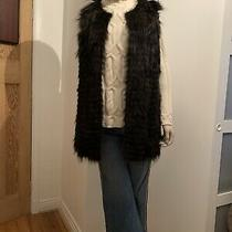 New Theory Brown/black Fur Long Gilet /sleeveless Jacket Photo