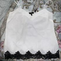 New Theory White Black Lace Trim Camisole Vest Top Size 8-10  Photo