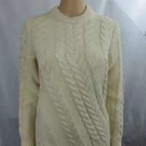 New Theory Wool Cable Knit Crewneck Sweater Long Sleeve Ivory Size M Nwt 595 Photo