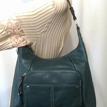 New Tignanello Glove Leather Hobo Bag With Front Pleating Detail Emerald Photo