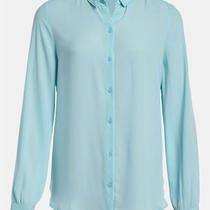 New Tildon 'Tiny Collar' Sheer Blouse Top Shirt Similar Equipment Aqua Size M Photo
