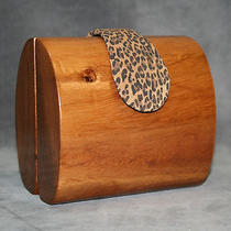 New Timmy Woods Beverly Hills Natural Wood & Leather Bag Clutch Photo