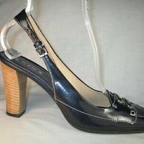 New Tod's Navy Blu Patent Leather W/silvr Logos Hi-Heel Slingbk Pump Shoe 10m Photo