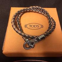 New Tods Leather Woven Braided Bracelet Dark Brown/light Brown Photo