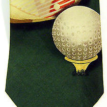 New Tommy Bahama Silk Mens Golf Tie Club Ball Flag Green Wide Necktie 56