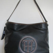New Tommy Hilfiger Leather Black Brown Handbag Purse Bag Rare Photo