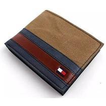 New Tommy Hilfiger Men's Canvas & Leather Credit Card Billfold Wallet (Khaki) Photo