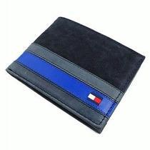 New Tommy Hilfiger Men's Canvas & Leather Credit Card Billfold Wallet (Black) Photo