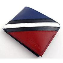 New Tommy Hilfiger Men's Leather Billfold Wallet Blue White & Red Photo