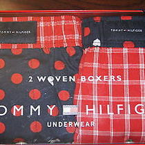 New Tommy Hilfiger Men's Woven Boxer Shorts Set of 2 in Box Red/navy Sz 40-42 Photo