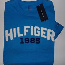 New Tommy Hilfiger Navy Blue White Classic Short Sleeve Graphic T-Shirt Small Photo
