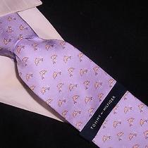 New Tommy Hilfiger Tie Silk  Lavender Violet Dolphin Photo