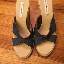 New Tommy Hilfiger Wedge Sandals Denim Shoes New Size 8 Photo