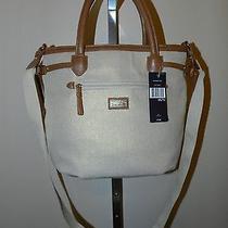 New Tommy Hilfiger Womens Cnv Shopper / Tote / Handbag Brown Beige & Gold Photo