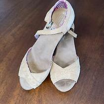 New Toms Suede Platform Wedge Sandals Womans Size 8 Photo