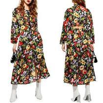 New Topshop Black Floral Zip Through Cutout Back Tropical Midi Dress Us 6 Photo