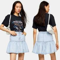 New Topshop Bleach Wash Denim Ruffle Hem Rara Pleated Skirt Us 4 Photo