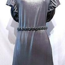 New Topshop Stunning Gold Metallic Puff Sleeve Mini Flare Stretch Party Dress8 Photo