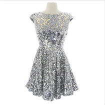 New Topshop Women's Silver Sequin Embellished Open Back Zipper Dress Us Size 10  Photo