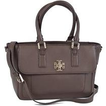 New Tory Burch 450 Brown Leather Mini Mercer Convertible Satchel Purse Handbag Photo