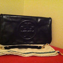 New Tory Burch Bombe Reva Black Leather Clutch Handbag 350 Photo
