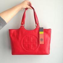 New Tory Burch Bombe Tote Bag Leather Purse in Red Orange Org 495 Photo