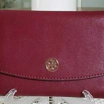 New Tory Burch Burgundy Leather Tri-Fold Wallet With Navy Interior Photo