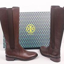 New Tory Burch Christy 30mm Tumbled Leather Brown Low Heel Knee Riding Boots 8.5 Photo