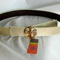 New Tory Burch Classic Metallic Tory Logo Reversible Belt in Gold & Coconut S  Photo